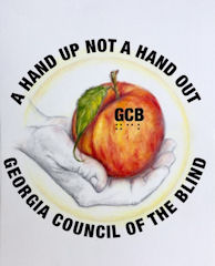GCB New Logo - Logo consist pf a peach with the letters GCb printed on it. The peach is surrounded by with words in a circular pattern. All the words making the circle are all in capital letters. The top half of the circle says, NOT A HAND OUT NOT A HAND UP and the bottom half reads GEORGIA COUNCIL OF THE BLIND